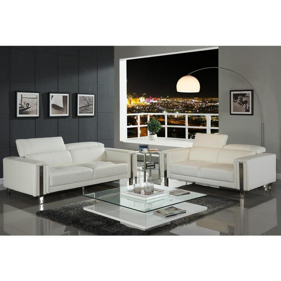 Couchgarnitur 3+2 MAROUA - Weiß