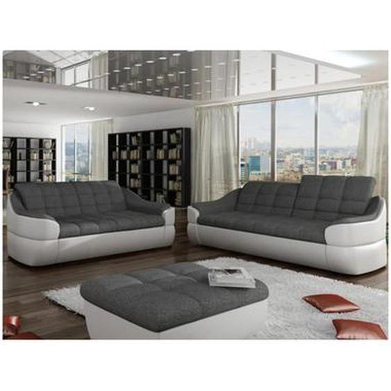 Couchgarnitur Stoff 3+2 Farez - Weiß&Grau