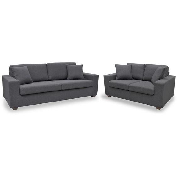 Couchgarnitur Stoff Yudo 3+2 - Grau