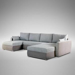 Couchlandschaft mit Schlaffunktion Hellgrau Hellbraun