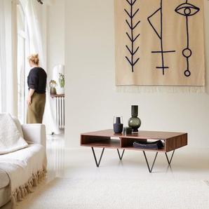 Couchtisch 115 x 70 cm aus Palisander Massivholz Design Metallfüße