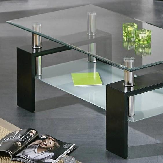 Couchtisch Alva Dana, mit Ablageboden Tischplatte: Glas schwarz Couchtische eckig Tische Tisch