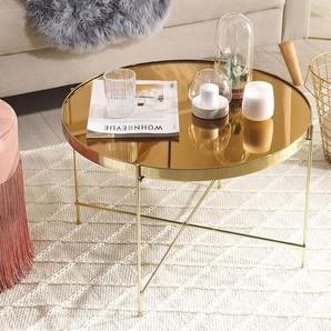 Couchtisch Glas gold / goldbraun rund ø63 cm LUCEA