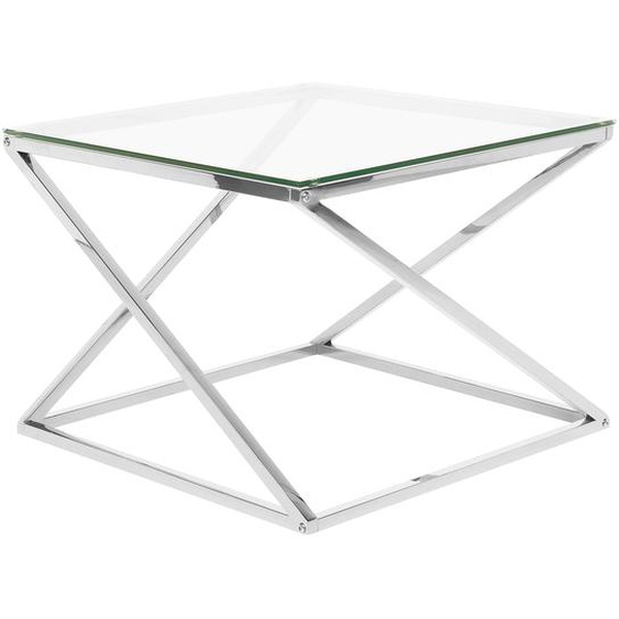 Couchtisch Glas Silber quadratisch 60 x 60 cm BEVERLY