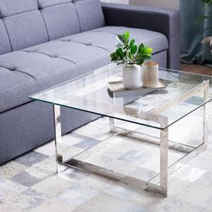 Couchtisch Glas Silber quadratisch 80 x 80 cm CRYSTAL