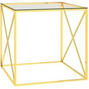 Couchtisch Golden 55x55x55 cm Edelstahl und Glas