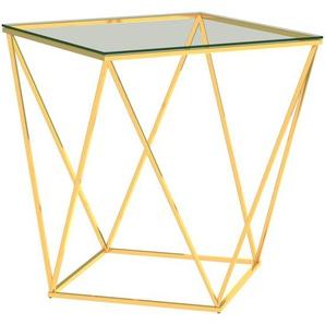 Couchtisch Golden und Transparent 50x50x55 cm Edelstahl