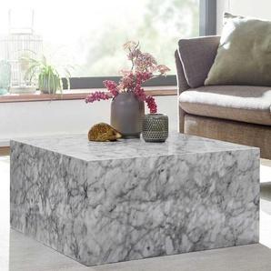Couchtisch in Weiß und Grau Marmor Optik Block-Form