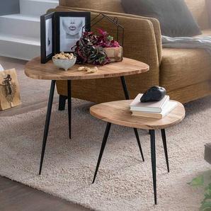 Couchtisch Set aus Akazie Massivholz und Edelstahl Wankelform (zweiteilig)