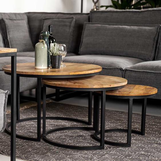 Couchtisch Set aus Mangobaum Massivholz und Eisen Industriedesign (3-teilig)