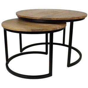 Couchtisch Set aus Mangobaum Massivholz und Eisen rund (2-teilig)