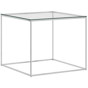 Couchtisch Silbern 50x50x43 cm Edelstahl und Glas