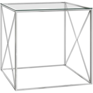 Couchtisch Silbern 55x55x55 cm Edelstahl und Glas