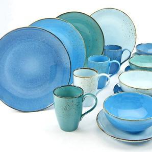 CreaTable Kombiservice ,blau ,Steingut
