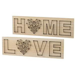 Holz Wanddeko »LOVE/HOME« (2er Set)