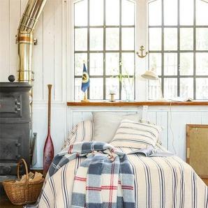 Crinkle-Tagesdecke gestreift - Blau/Creme - 100 % Baumwolle - Tagesdecken & Quilts - Überwürfe & Sofaüberwürfe
