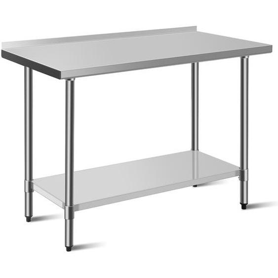 Arbeitstisch Edelstahltisch Küchentisch mit Arbeitsplatte Edelstahl Silber 122 x 61 x 90 cm