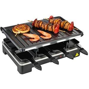 Cuisinier Deluxe Premium Raclette Grill für 2-8 Personen | 1200W-1400W | inkl. 8 Raclette-Schalen und 8 Holzspatel |gerippte Alu Druckgussplatte | Antihaftbeschichtung | stufenlose Temperaturreglung