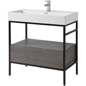 CYGNUS BATH Waschtisch »Brooklyn«, mit Aufsatzbecken und Metallgestell 80cm Breite