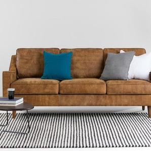 Dallas 3-Sitzer Sofa, Vintage-Premium-Leder in Hellbraun