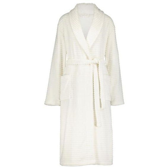 Damen-Bademantel, Fleece Weiß