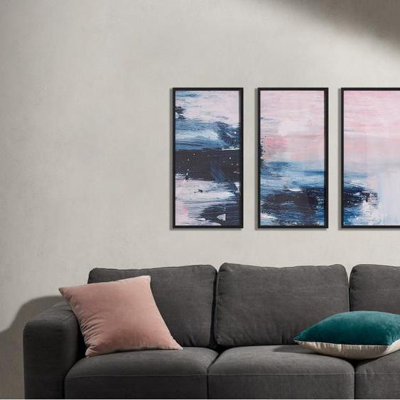 3 x Dan Hobday Textured Brush Strokes gerahmte Kunstdrucke (30 x 60cm), Rosa und Blau
