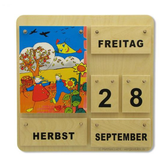 Dauerkalender Holz Karl und Kat Holzkalender Kindergarten Grundschule