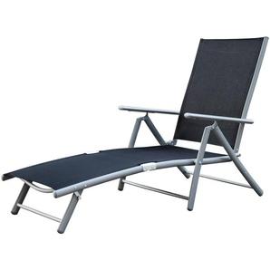 Deckchair, Aluminium- / Stahlgestell, 4-fach verstellbar, Schwarz