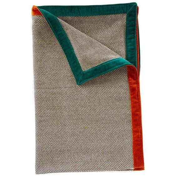 Decke Herringbone - bunt - 50 % Wolle, 50 % Polyestermix, Rand 100 % Baumwollsamt - Wolldecken & Plaids