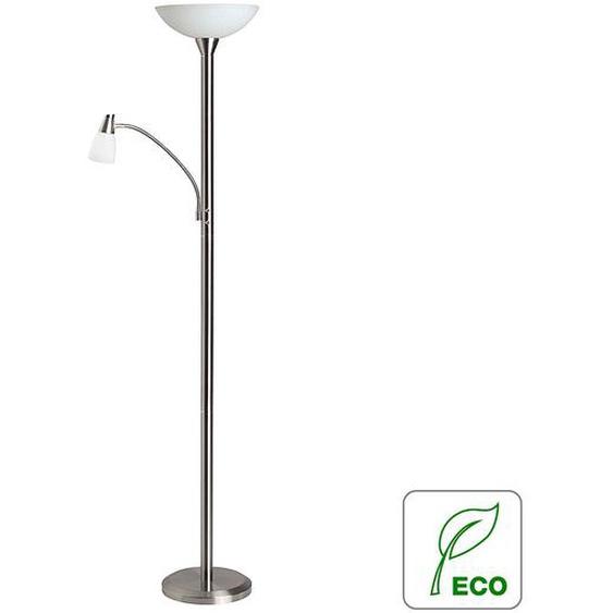 Brilliant Deckenfluter Lucy Metall/Glas Silber/Weiß180 cm Höhe