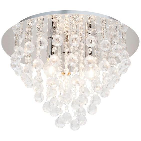 Deckenlampe mit hängenden Glaselementen   silber  