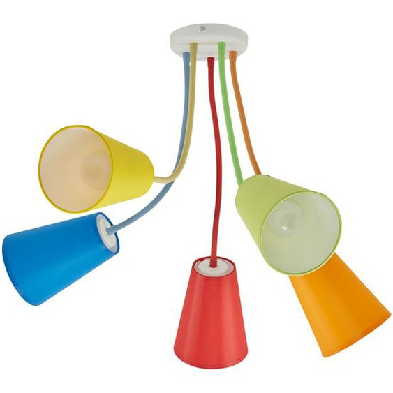 Deckenleuchte, 5-flammig, Schirme bunt   mehrfarbig  