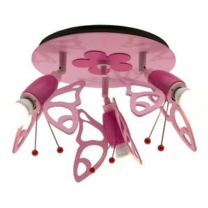 Deckenstrahler Schmetterlinge Holz rosa   rosa/pink   30 cm   Möbel Kraft