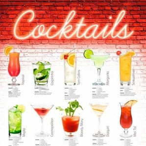 Deco-Panel »Cocktails - englisch«, 60/90 cm