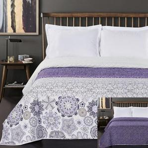 DecoKing Tagesdecke 260 x 280 cm violett weiß Bettüberwurf mit abstraktem Muster zweiseitig pflegeleicht Alhambra lila purple white lilac
