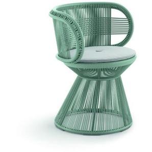 Dedon - Cirql Armchair mit Sitzkissen, Standfuß - bluestone - outdoor