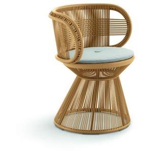 Dedon - Cirql Armchair mit Sitzkissen, Standfuß - ginger - outdoor