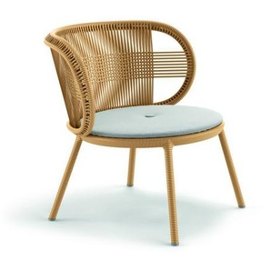 Dedon - Cirql Lounge Chair mit Sitzkissen Cool White - ginger - outdoor
