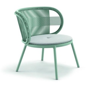 Dedon - Cirql Lounge Chair mit Sitzkissen Twist Dark Turquoise - bluestone - outdoor