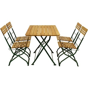 Biergarten - Garnitur MÜNCHEN 5-teilig (4x Stuhl, 1x Tisch 70x110cm eckig), Flachstahl grün + Robinie - DEGAMO