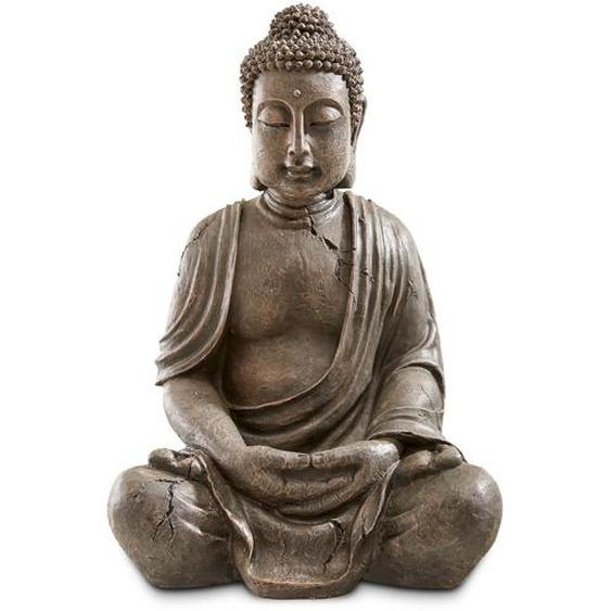 Deko-Buddha, Grau, Kunststoff