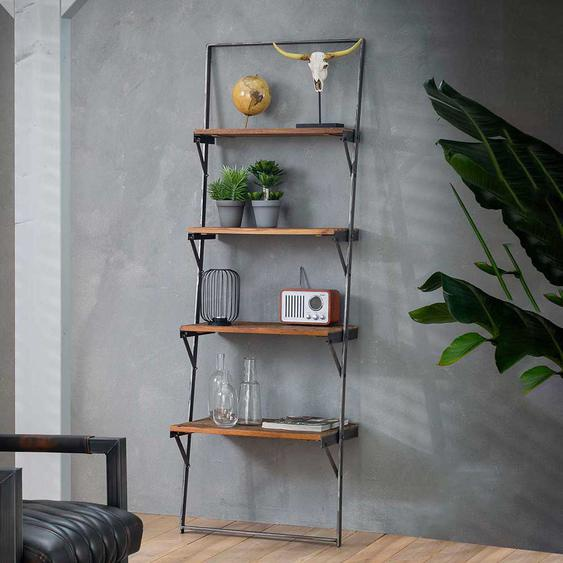 Deko Regal aus Recyclingholz und Metall 180 cm hoch