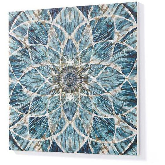 Deko Wandbild mit blauem Mandala Motiv Massivholzrahmen
