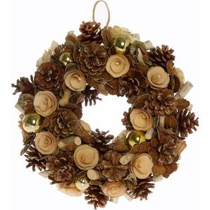 Dekokranz, mit Naturmaterialien und glänzenden Kugeln gestaltet, Ø 42 cm beige Dekokranz Kunstkränze Kunstpflanzen Wohnaccessoires