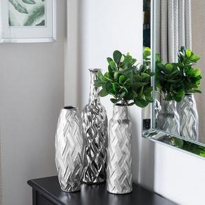 Dekovase Keramik silber 33 cm ARPAD