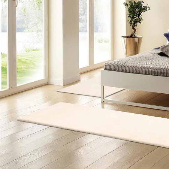 DELAVITA Bettumrandung Mohan, handgeknüpft B/L (Brücke): 70 cm x 140 (2 St.) (Läufer): 340 (1 St.), rechteckig weiß Bettumrandungen Läufer Teppiche