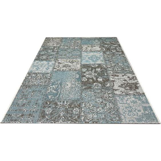 DELAVITA Teppich Inga, rechteckig, 4 mm Höhe, In-und Putdoor geeignet, Wohnzimmer B/L: 230 cm x 330 cm, 1 St. blau Wohnzimmerteppiche Teppiche nach Räumen