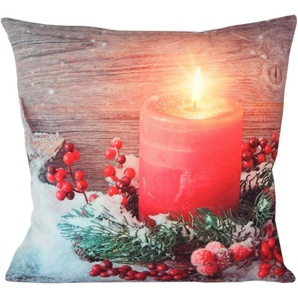 Delindo Lifestyle Kissenhülle »Candle«, 1x 22x31 cm, rot