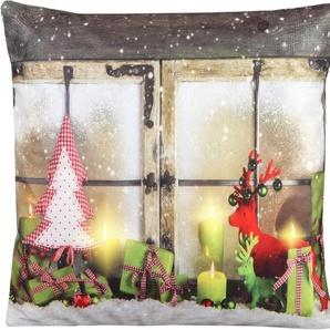 Delindo Lifestyle Kissenhülle »Weihnachtsstimmung«, 1x 22x31 cm, beige
