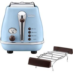 DeLonghi Toaster Incona Vintage CTOV 2103.AZ, 2 kurze Schlitze, 900 W, im Retro Look, azur Einheitsgröße blau SOFORT LIEFERBARE Haushaltsgeräte